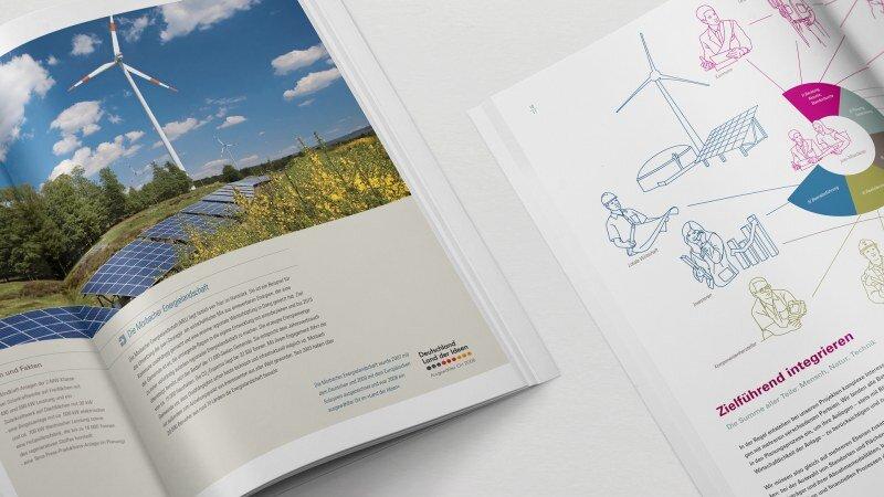 Juwi Editorial Design und Broschüren mit Illustrationen