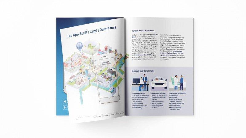 Innenansicht der Broschüre für die App Stadt Land DatenFluss