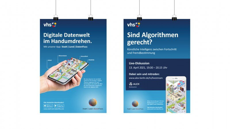 Kampagnenplakate für die App Stadt | Land | DatenFluss