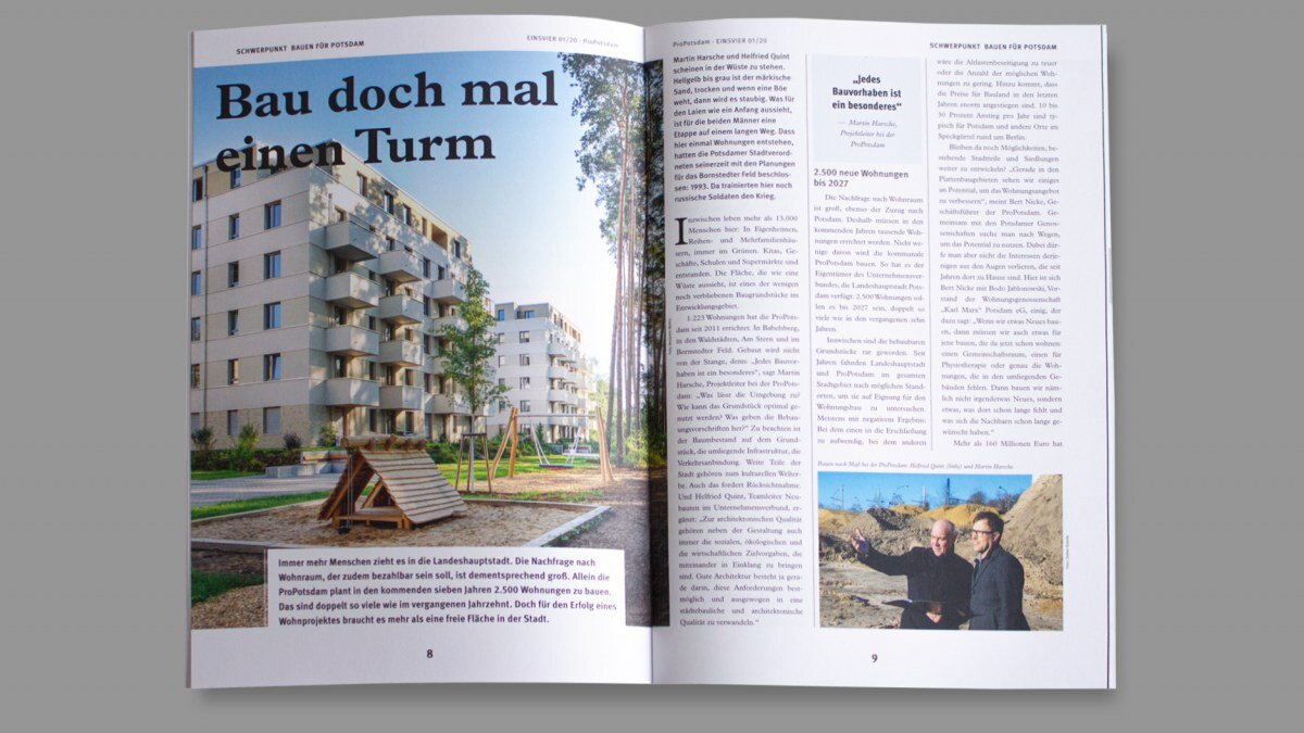 Editorial Design und Corporate Communication vom EINSVIER Mietermagazin