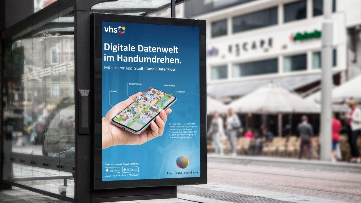 Kampagnenplakat für die App Stadt Land DatenFluss