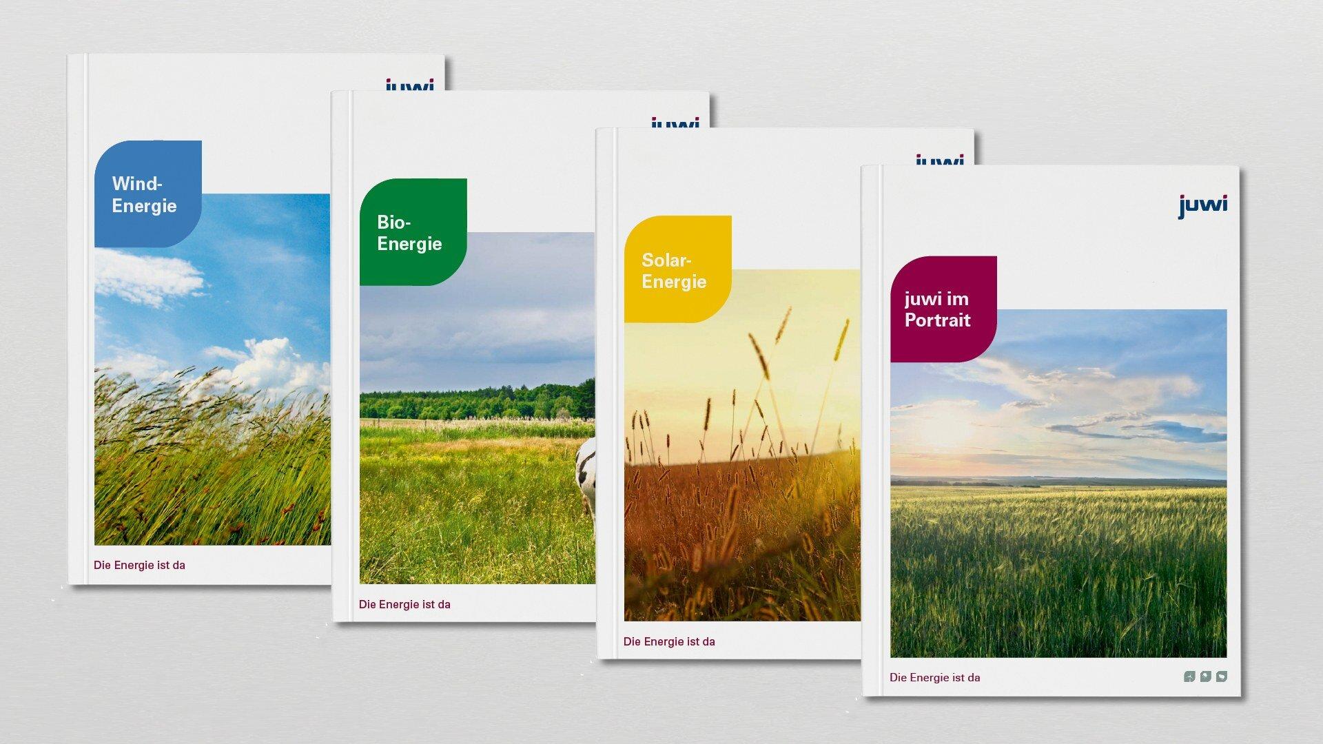 Juwi Editorial Design für die Bereiche Solar-, Wind- und Bioenergie