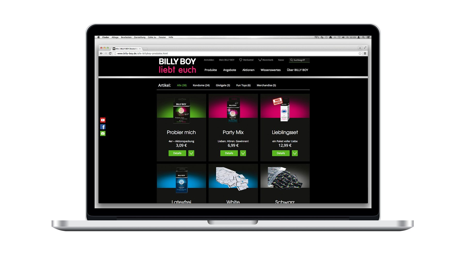 Landingpage nach Relaunch der Billy Boy Webseite, .jpg