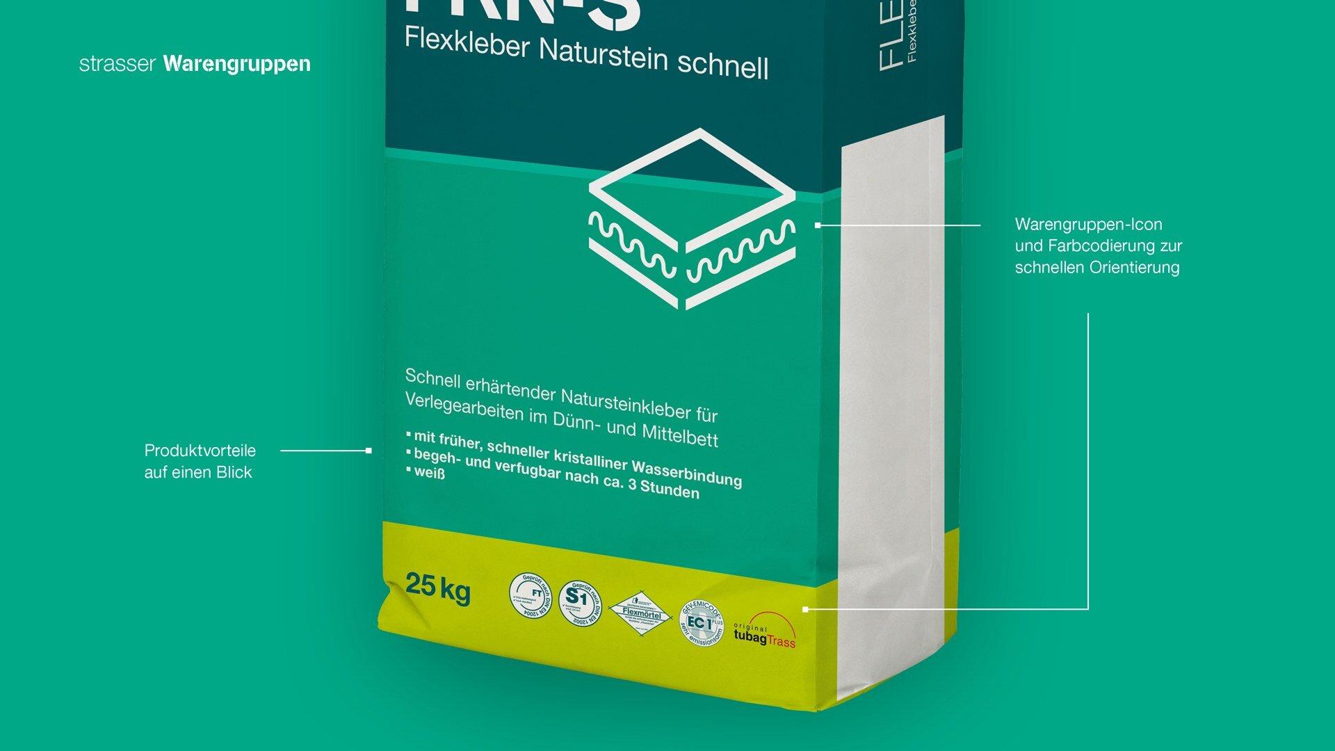 Unterscheidung der Warengruppen im Strasser Packaging Design